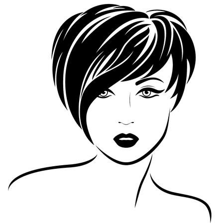 Beautiful fashion girl with short asymmetric stylish hair and sensual character, vector illustration isolated on the white background