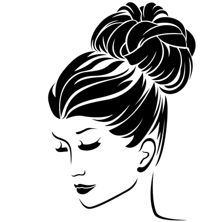 lass: Beautiful fashion women half turn portrait with classical high bun hairstyle and sensual character, vector illustration isolated on the white background Illustration