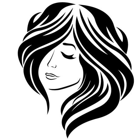Abstract mooi meisje met gesloten oog en lang modieus haar, vectordieillustratie op de witte achtergrond wordt geïsoleerd