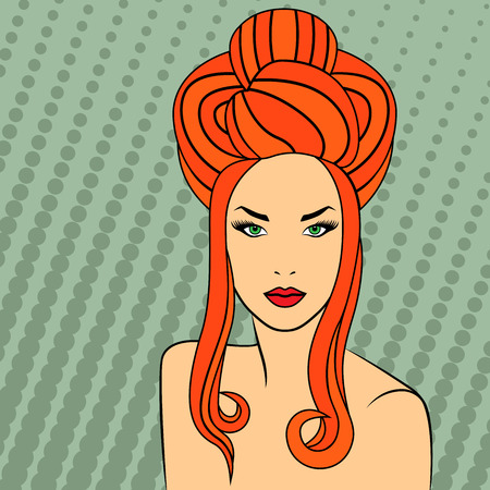 hair style: Red-haired girl with fluffy hairstyle and long hair curls on the retro style background, vector illustration Illustration