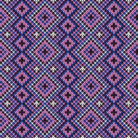 Geometric seamless knitting vector pattern in various colors Illustration