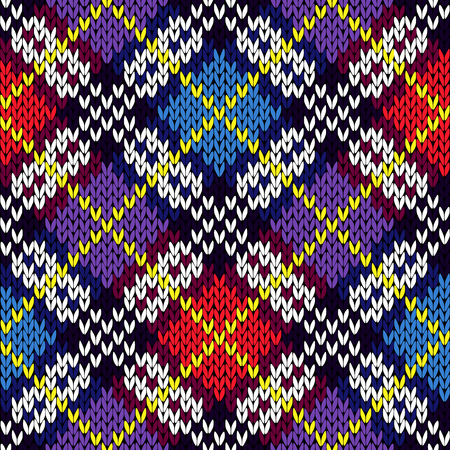 Geometric seamless knitting various colors vector pattern