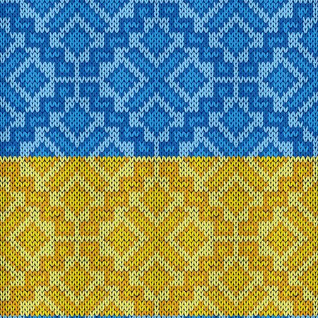 Geometric seamless knitted vector pattern in blue and yellow colors as a Ukrainian flag