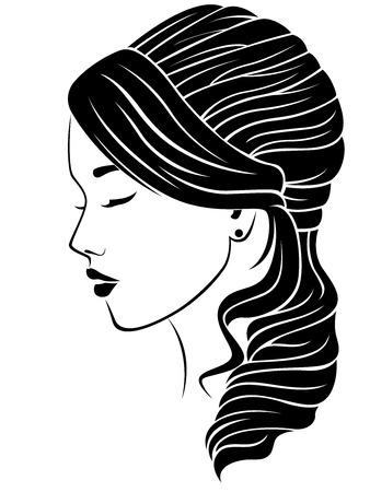 Chica soñadora con peinado ondulado, ilustración vectorial aislado en el fondo blanco