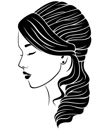 Dreamy girl with wavy hairdo, vector illustration isolated on the white background