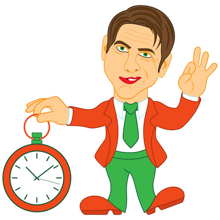 Gentleman holds a clock in his hand and gesticulate a sign Okay, conceptual color cartoon vector illustration