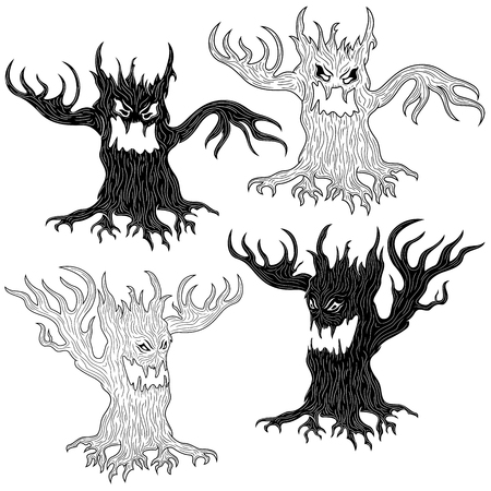 Halloween cartoon set of two pairs of aggressive evil trees in stencil and outline vector designs