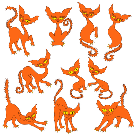 Halloween set of ten amusing orange cats with yellow eyes and with prickly tails, vector illustrations isolated on the white background