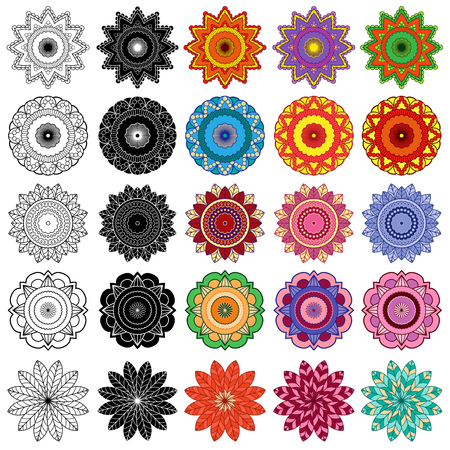 fifteen: Set of ten black and fifteen color stylized flowers, vector illustrations isolated on the white background Illustration