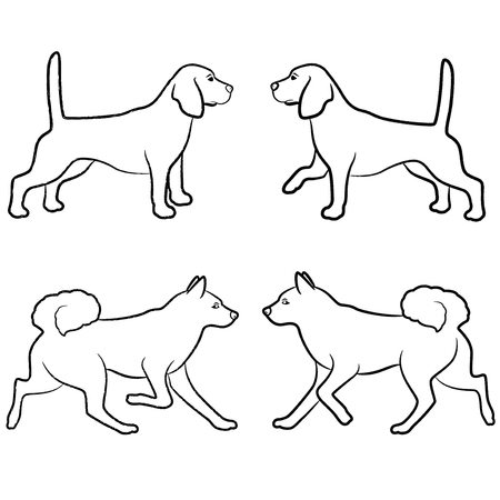 Set of four standing and walking dogs, vector outlines