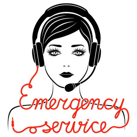 Girl in headphones with microphone and with red cable as a inscription, Emergency service concept vector outline Illustration