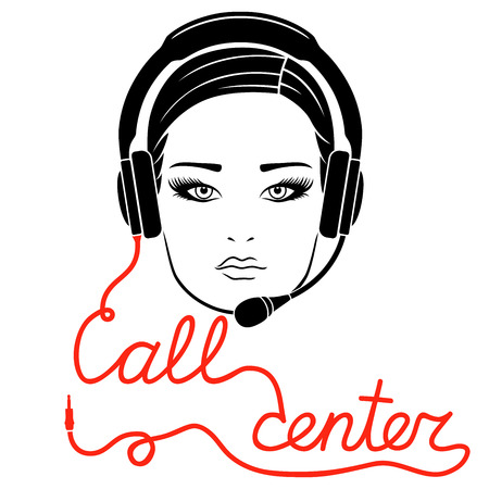 Girl in headphones with microphone and with red cable as a inscription, call center concept vector outline