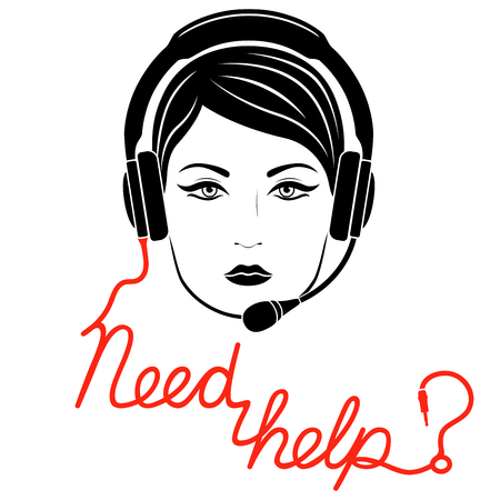 Girl in headphones with microphone and with red cable as a inscription, online help center concept vector illustration
