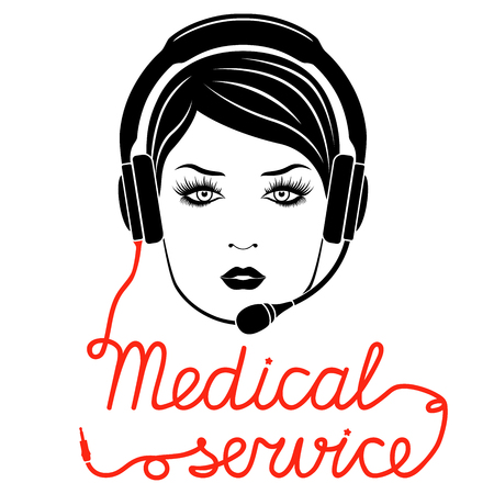 Girl in headphones with microphone and with red cable as a inscription, Medical online service concept, vector illustration