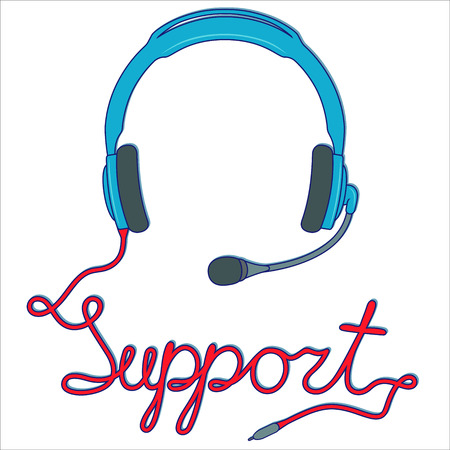 Blue headphones with microphone and with red cable as a inscription, online support service concept, vector illustration isolated on the white background