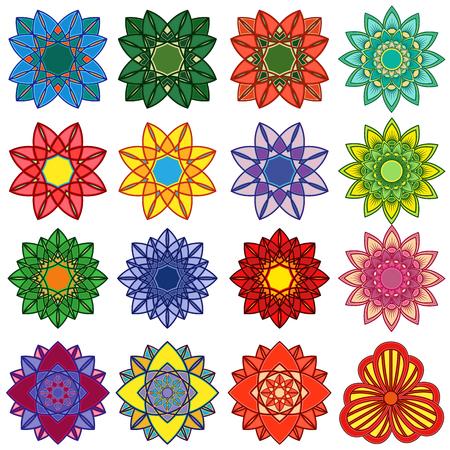 Reeks van vijfentwintig gestileerde kleurenbloemen, vectordieillustraties op de witte achtergrond worden geïsoleerd