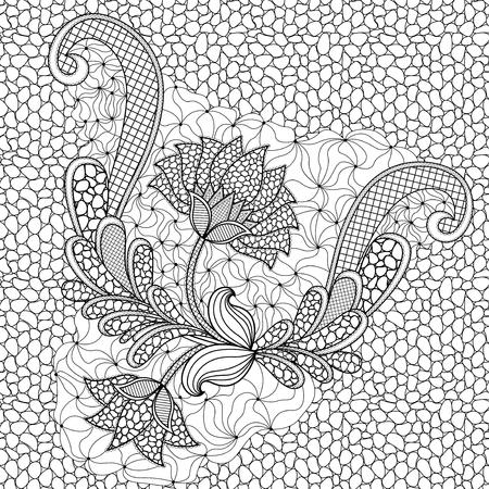 Abstract hand getrokken zwart-wit bloemen naadloze vector patroon met Pebble achtergrond