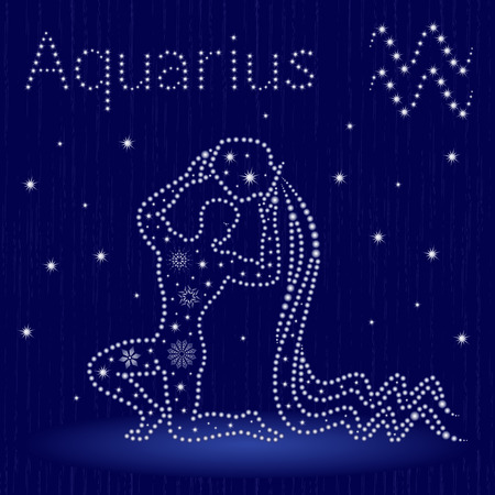 Zodiac sign Aquarius on a blue starry sky, hand drawn vector illustration in winter motif with stylized stars and snowflakes over seamless background Vettoriali