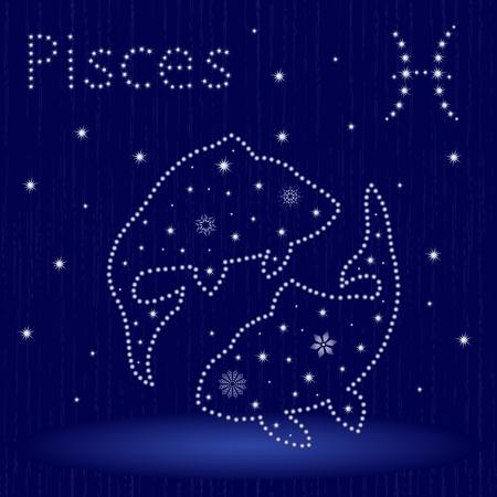 Segno zodiacale Pesci su un cielo stellato blu, illustrazione vettoriale disegnato a mano in inverno motivo con stelle stilizzate e fiocchi di neve sopra priorità bassa senza giunte Archivio Fotografico - 88693724