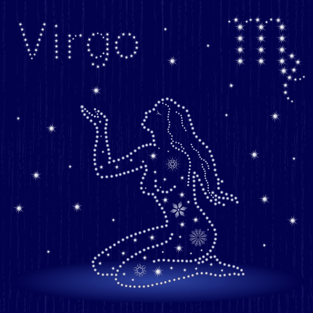 Zodiac sign Virgo on a blue starry sky, hand drawn vector illustration in winter motif with stylized stars and snowflakes over seamless background