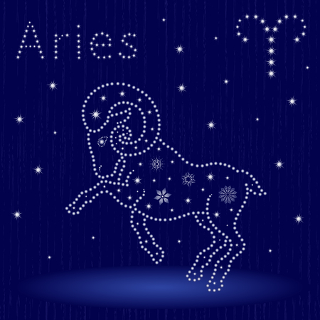 Zodiac sign Aries on a blue starry sky, hand drawn vector illustration.