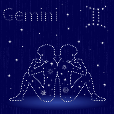 Zodiac sign Gemini on a blue starry sky, hand drawn vector illustration.