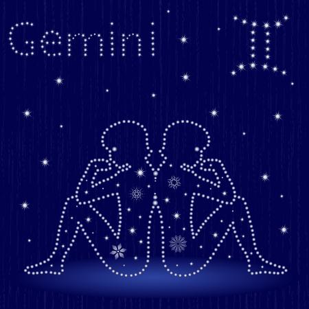 星座双子座在蓝色星空,手绘矢量插图。