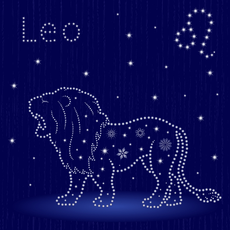 Zodiac sign Leo on a blue starry sky, hand drawn vector illustration. Illustration