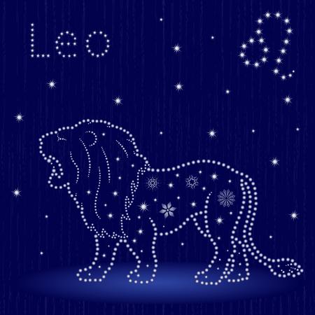 Zodiac sign Leo on a blue starry sky, hand drawn vector illustration. Ilustração