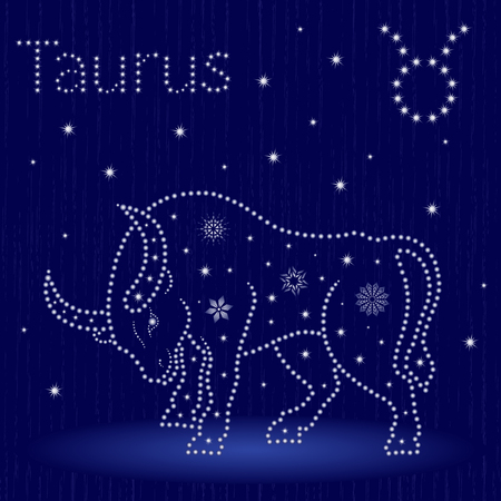 Zodiac sign Taurus on a blue starry sky, hand drawn vector illustration.