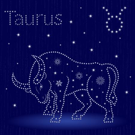 Zodiac sign Taurus on a blue starry sky, hand drawn vector illustration.