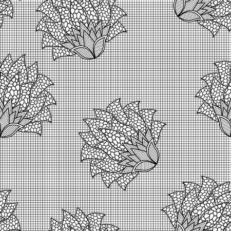 Bloemen naadloos hand getrokken zwart-wit vectorpatroon Vector Illustratie