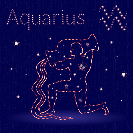 Zodiac sign Aquarius on the starry sky, hand drawn vector illustration with stylized stars over blue background