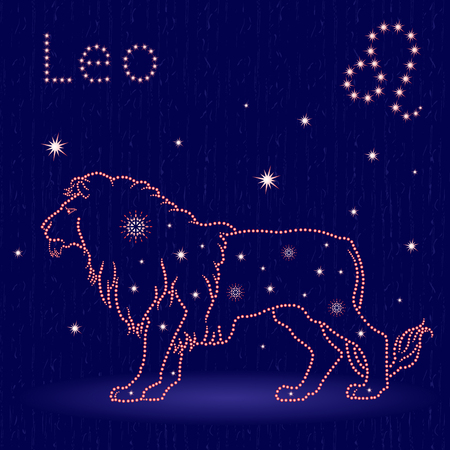 Zodiac sign Leo on the starry sky, hand drawn vector illustration with stylized stars over blue background