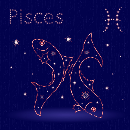 Zodiac sign Pisces on the starry sky, hand drawn vector illustration with stylized stars over blue background Illustration