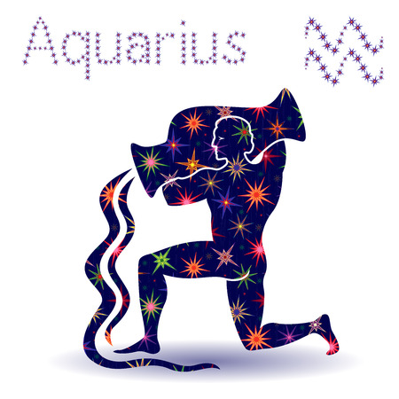 february calendar: Zodiac sign Aquarius, hand drawn vector stencil with stylized stars isolated on the white background