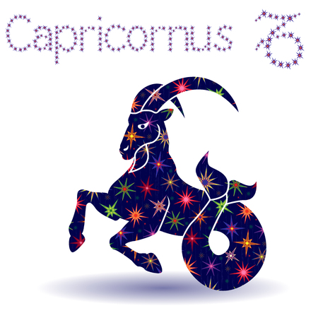 Zodiac sign Capricornus, hand drawn vector stencil with stylized stars isolated on the white background