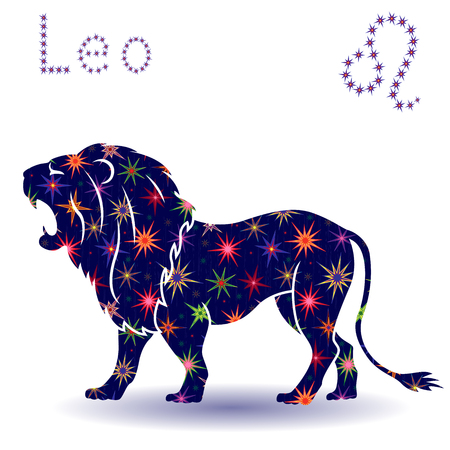 Zodiac sign Leo, hand drawn vector stencil with stylized stars isolated on the white background
