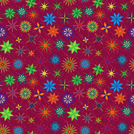 Bright seamless vector starry pattern with multicolor stylized stars on a red background Çizim