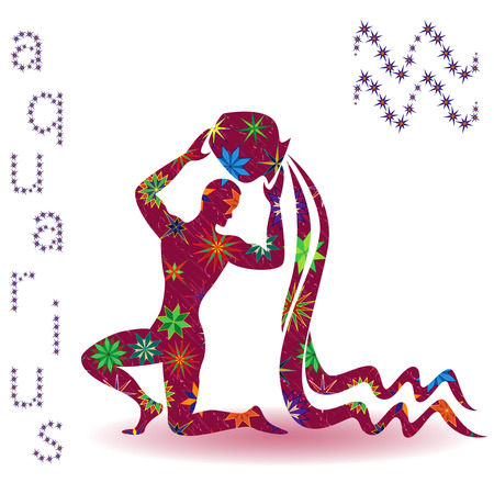Zodiac sign Aquarius, claret vector silhouette with stylized multicolor stars isolated on the white background