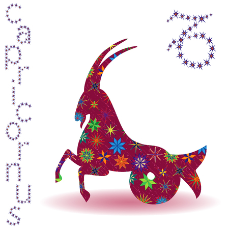Zodiac sign Capricornus, claret vector silhouette with stylized multicolor stars isolated on the white background