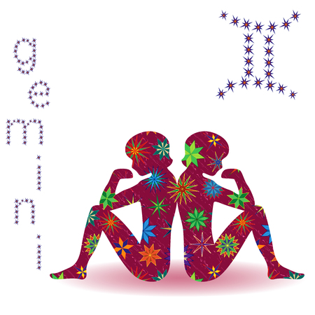 Zodiac sign Gemini, claret vector silhouette with stylized multicolor stars isolated on the white background