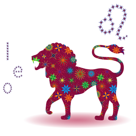 Zodiac sign Leo, claret vector silhouette with stylized multicolor stars isolated on the white background