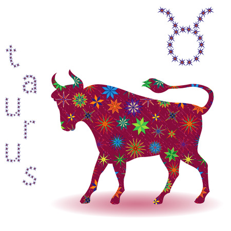 burgundy: Zodiac sign Taurus, claret vector silhouette with stylized multicolor stars isolated on the white background