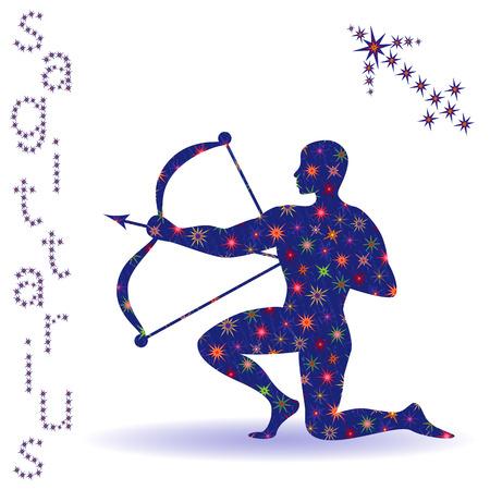Signo del zodiaco Sagitario, plantilla dibujada a mano con estrellas estilizadas aislado en el fondo blanco Foto de archivo - 89399858