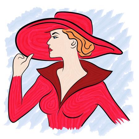 赤の女性の美しい衣装し、つば広の帽子、手ブラシで水彩絵としての色ベクトル図の図面