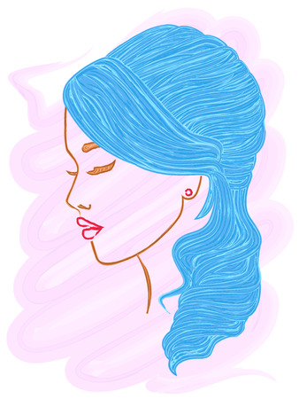 Asian model with long blue hair, hand drawing color vector illustration with brush as a watercolor picture over pink Illustration