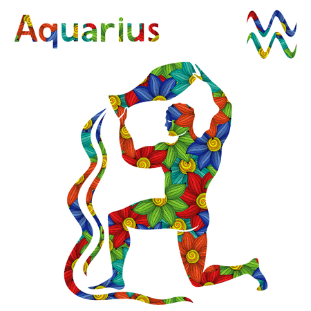 Zodiac sign Aquarius with filling of colorful stylized flowers on a white background, vector illustration