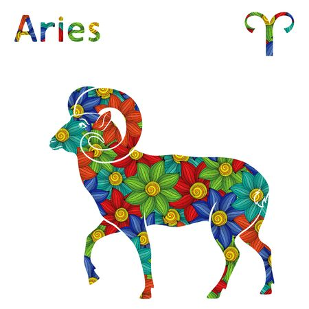 Zodiac sign Aries with filling of colorful stylized flowers on a white background, vector illustration