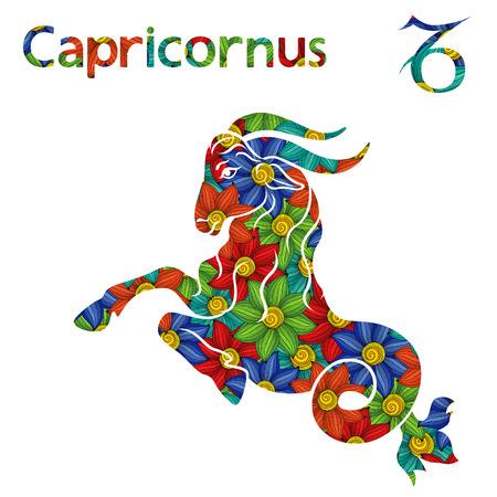 Segno zodiacale Capricorno con riempimento di fiori stilizzati colorati su uno sfondo bianco, illustrazione vettoriale Archivio Fotografico - 90907037